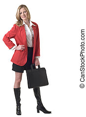 Attractive business woman in red blazer standing on white...