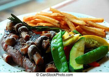 Steak fries vegetables