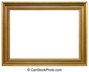 Empty picture frame - Empty gold frame isolated