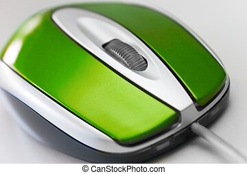 Green Mouse - Close-up of a computer mouse