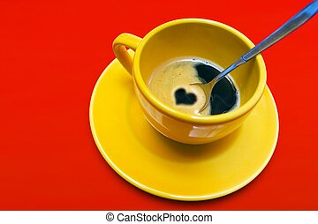 Coffee Love - Yellow coffee cup with heart on a red...