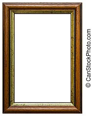 Isolated frame - Wooden frame isolated on white background