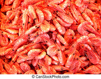 Shrimps 3 - Digital photo of shrimps at a fishmarket in...