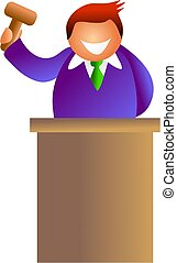 auctioneer with gavel in his hand - icon people series
