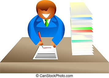 paperwork - businessman signing a document - icon people...