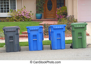 Trash Cans - containers for trash, recycling and yard waste