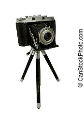 Retro Camera attached to Tripod isolated