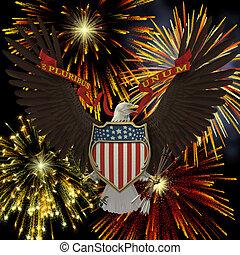 US Emblem over Fireworks