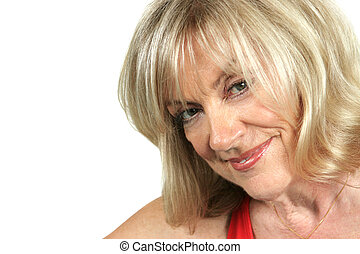 Sexy Older Woman - A closeup of a beautiful, mature blond...
