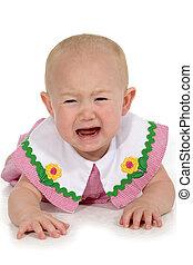Crying Baby Girl - Beautiful baby girl laying on floor...