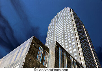 Sunlit office block - Dramatically lit office block from...