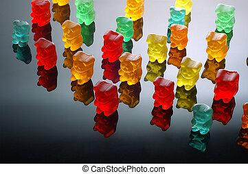 Gummy bears walking
