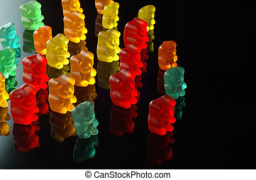 Gummy bears walking