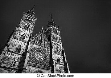 Neurenburg #75 - Church in Neurenburg at nighttime. Black...