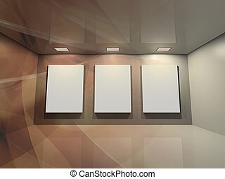 Virtual gallery - brown - Contemporary virtual interior with...