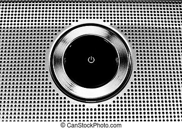 poder, botão, -, metálico