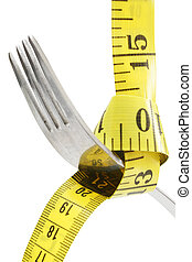 Fork and Tape - Fork hanging from measuring tape; includes...