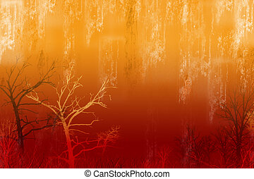 Red Acid Rain - Grunge background with trees and...