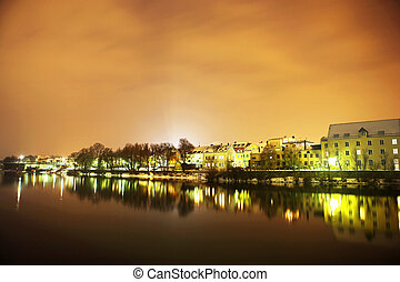 Regensburg#46 - Night scene, lights and buildings in...
