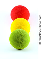 Balls in a Traffic Light Arrangement - Foam balls lined up...
