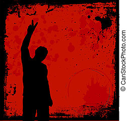 Grunge youth - Silhouette of a man giving the peace sign on...