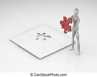 The final piece - 3D render of someone about to complete a...