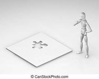The final piece - 3D render of someone stood next to an...
