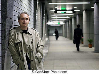 Man in subway at night