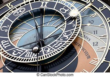 astronômico, relógio, detalhe