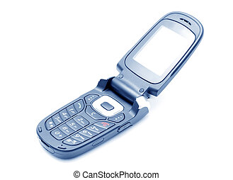 Mobile Phone - Mobile phone over white, blue toned