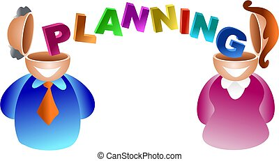 planning brain - man and woman with the word PLANNING...