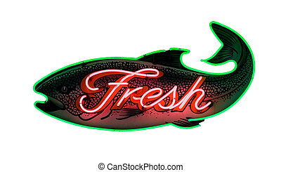 Fresh fish - Famous sign at Seattles Pike Place market