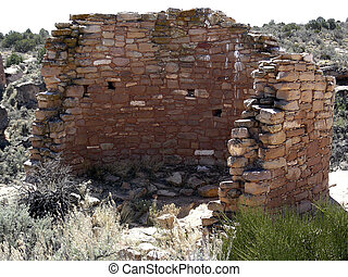 Ruined Wall - Remnants of Native American Unit Type Housing...
