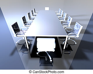 Metal Meeting Room 1 - 3D rendered Boardroom.