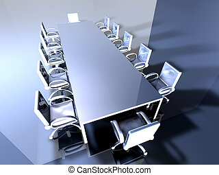 Metal Meeting Room 2 - 3D rendered Boardroom