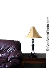 Room Interior - Chesterfield couch leather and lamp in new...