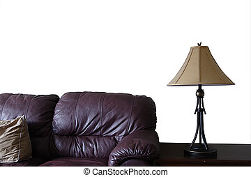 New Furniture - Leather couch lamp and end table in new...