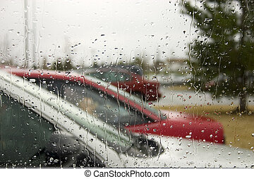 Rain Drops on the Windshield - Rain on the Windshield with...