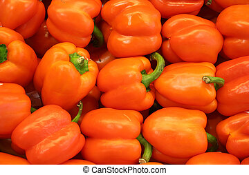 Vegetable - Orange Bell Pepper - orange bell pepper in the...
