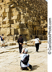 Capturing Pyramids - A man taking picture of Pyramids...