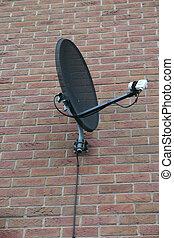 Satellite Dish - Black Satellite Dish with White LNB on...