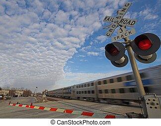 commuter train - Chicago, Illinois commuter train at grade...