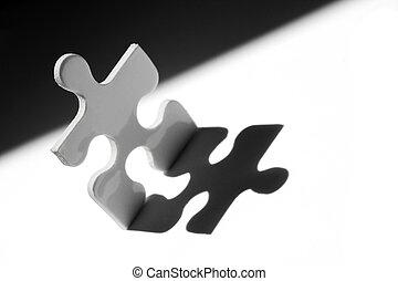 Jigsaw man in strong light