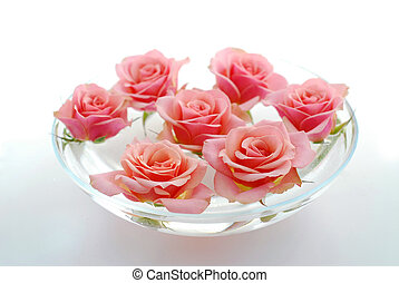 Rose float water - Pink rose flowers floating in a bowl with...