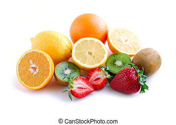 Assorted fruit on white background