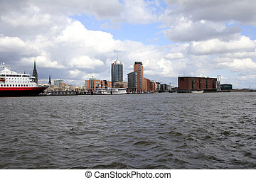 Skyline of Hamburg with Philharmonic concert hall, Germany -...