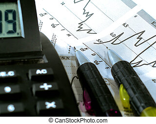 Stock Market Researc - Shallow depth of field Focus at the...