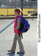 School girl walking