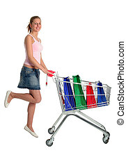 Shopping - Woman with Shopping Cart