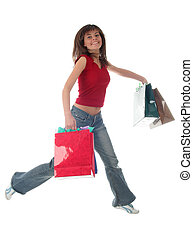Jumping girl with shopping bags